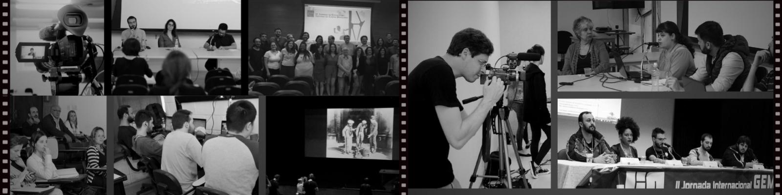 Montagem de fotos com diversas atividades desenvolvidas no Programa de Pós-Graduação em Imagem e Som como: colóquios, palestras, produção e edição de vídeos, dentro outros.